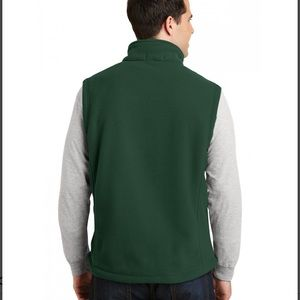 Basic Editions Fleece Vest Zip Up Green Size Small